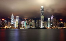 Architecture Hong Kong wide wallpapers, Hong Kong in the night