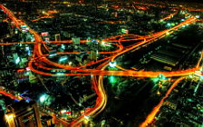 Night city roads wide wallpapers